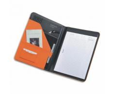 Conférencier Juscha Messina imitation cuir - 32,5 x 24,5 x 2cm - avec bloc-notes et pochettes multiples - orange