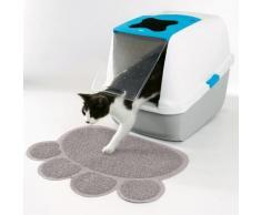Tapis protection sol empreinte chat - gris