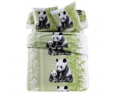 Linge de lit Pandas polyester coton - vert
