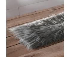 Chemin de table fausse fourrure - gris