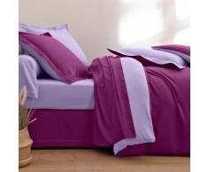 Linge de lit bicolore flanelle - prune / lavande