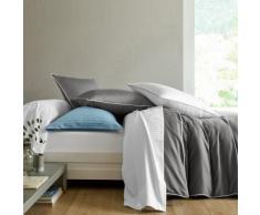 Linge de lit en satin rayé - blanc