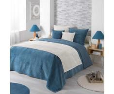 Couvre-lit uni matelassé effet velours - bleu
