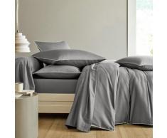 Linge de lit en satin de coton uni passepoil contrasté - gris