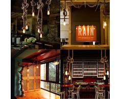 Retro Suspensions, VastSean 2,5M 8.2ft Vintage Rope Knot Industrial Lighting Fit for Loft Plafond restaurant salle à manger intérieure Salon Chambre Lampes + plafond Pan E27 Socket (Non inclus ampoule)
