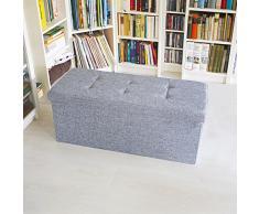 Banc de rangement pliable pliant coffre de stockage tabouret rectangle tissu lin