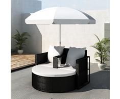 vidaXL Canapé de 2 places en poly rotin rond noir avec le parasol