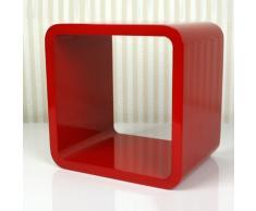 Étagère murale rétro cube en rouge, 22,5 x 22,5 x 17 cm -PEGANE-