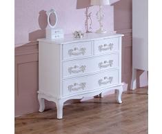Melody Maison Pays Blanc Range-Blanc Antique, une commode 4 tiroirs