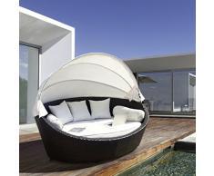 Luxurygarden Canapé rond/chaise longue de jardin en rotin, marron