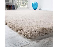 Tapis Salon Micro Polyester Shaggy Élégant Résistant Haut Poil Long Beige Clair, Dimension:160x220 cm
