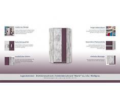 "Chambre d'adolescent - Armoire d'angle ""Marin"" 02, Lilas / Blanc-Gris - Dimensions: 90 x 195 x 90 cm (L x H x P)"