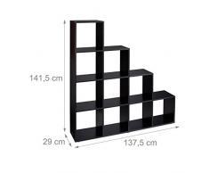 Relaxdays Etagère escalier 10 compartiments bibliothèque escalier armoire séparateur pièce, noir