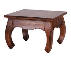 1PLUS table basse en bois de sheesham massif 60 x 60 cm-forme opium en bois massif