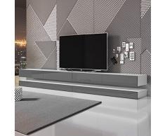 aviator double le meuble tv suspendu 280 cm blanc mat gris brillant