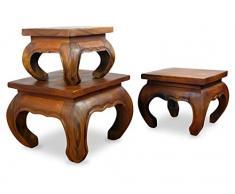 Livasia Table Basse Opium | Table dappoint en Bois Massif | Bois dacacia | Décoration Asiatique | Matériaux Nobles | Fabrication Artisanale en Thaïlande (24x24cm)