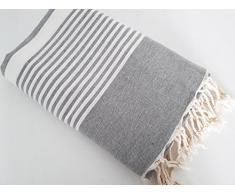 Magie du monde Jeté de canapé Grande Taille Gris 100% Coton - 300x200cm - Modèle Byblos Greige rayé Blanc