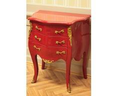 LouisXV Commode Baroque, 3 tiroirs, Peinte en Rouge, des poignées d'or