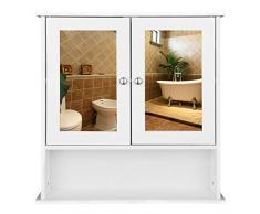 eSituro SBP0028 Armoire de Toilette avec Miroir et Porte,Meuble de Rangement pour Salle de Bain,Blanc