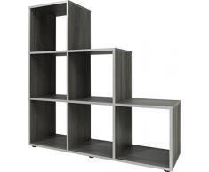 CSSchmal Bibliothèque chêne Blanc étagères de Stockage Unité 3 4 escalier – 105 x 32 x 106 139 x 32 x 141 Cm de Haute qualité