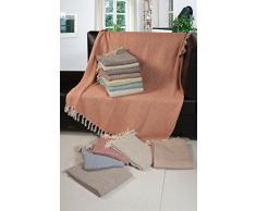 EHC tissé main simple réversible Jeté de Canapé Bras Housse de chaise, gris/naturel, 125 x 150 cm