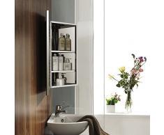 mecor Armoire Miroir de Salle de Bains Mural avec 3 Étagères en Acier Inoxydable D'angle