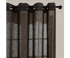 Top Finel Rideaux Voilages en faux Lin Semi-transparents de fenêtre pour Salon Cuisine Chambre , 140cmx245cm, à oeillets, 2 paneaux,Gris foncé