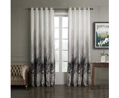 GWELL 1 Pc Rideaux de Fenêtre Occultant Jacquard Drapé avec Oeillets Solide en Polyester Salon Chambre Cuisine Design Moderne