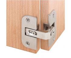 gedotec® Pliable Charnière de porte Charnière Armoire d'angle Meubles Charnière acier nickelé | Joint 4–18 mm – Charnière de porte avec angle d'ouverture 150 ° – 3 Dimensional de réglage | Produit de qualité pour votre intérieur