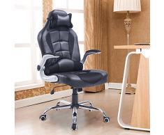 Luxe chaise de bureau fauteuil relaxion pivotant hauteur réglable inclinable en PU avec oreille cervicale et cousin lombaire noir