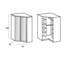 Armoire d'angle COOPER blanche avec miroirs 2 portes battantes