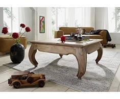 Table basse carrée 60x60cm - Bois massif de palissandre laqué - Inspiration Ethnique-Coloniale - OPIUM #630