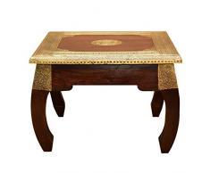 Casa Moro Table Opium Oriental A Moyen 46 x 46 cm Hauteur 34 cm en Bois Massif Sheesham avec incrustations en Laiton | Table Basse Vintage | Table Basse | Table Basse | MA5200