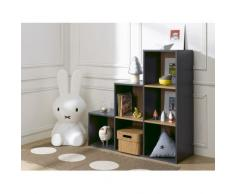 Alfred & Compagnie - BIBLIOTHEQUE 6 CASES ESCALIER ANTHRACITE 100x68x35
