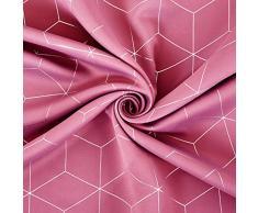 Deconovo Lot DE 2 Oeillets Rideaux Occultants Rose Pâle Isolant Thermique Motif Geometique Imprimés Argents pour Enfant Fille Rideaux Chambre Salon 117x183cm