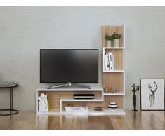 MIMOSA Ensemble de meubles de salon - Blanc ( brillant) / Sonoma - Meuble TV dans es couleurs brillantes avec étagères en moderne design