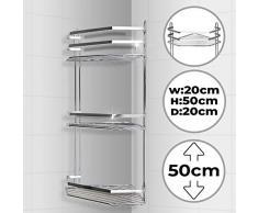Jago – Etagère d'angle de douche chromé, 3 niveaux, charge maximale de 24 kg)