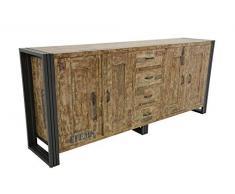 Nomadde Industriel - Enfilade 220cm Wolof Finition vieillie colorée et blanchie - Finition : Recyclé coloré Blanchi Bois Massif dHévéa & Fer