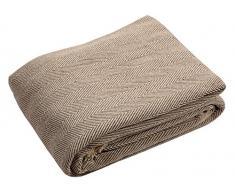 Grand jeté pour canapé en coton naturel Motif à chevrons bicolore – 150 x 200 cm