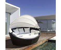 luxurygarden – Canapé de jardin rond en rotin Chaise longue Basma Marron ameublement de jardin de terrasse de piscine