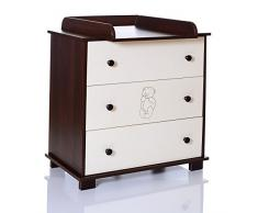 Commode Bebe avec Table à Langer Amoviable | 3 Tiroirs Grande | Ours Marron Blanc