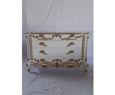 Armoire de Commode Style Baroque - Couleur : Blanc - Largeur : 125 cm