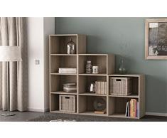 Etagère en bois 3 niches Chêne brut, 42.4 x 29.4 x 80 cm -PEGANE-