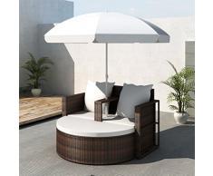vidaXL Canapé de 2 places en poly rotin rond brun avec le parasol