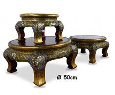 Livasia Table dopium, Table Basse | Table dappoint | Mosaïques et Bois, Décoration Asiatique à la Main en Thaïlande (50cm)