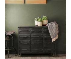 Whaleycorn rétro style industriel Buffet Noir vintage en métal fer à repasser Commode Armoire Placard de rangement