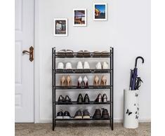 SONGMICS Étagère à Chaussures en Treillis métallique Extensible 5 Niveaux pour 15 à 20 Paires de Chaussures Entrée 74 x 30,7 x 104 cm (L x l x H) LMR005B