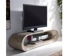 Meuble TV design KAÏNA en fibre de verre taupe brillant et une étagère en verre trempé