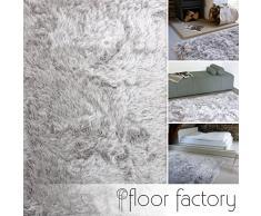 Tapis Shaggy longues mèches Prestige gris argent 200x290 cm - tapis doux à poils extra longs