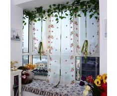 Rideaux Salon Design Moderne Kolylong Fraise Fleur Tulle Produit Fini éCrans De FenêTre De Qualité Rideau 100cm x 80 cm